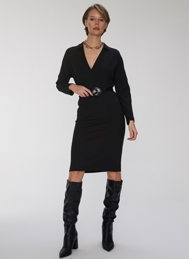 People By Fabrika Fitilli Örme Elbise Siyah